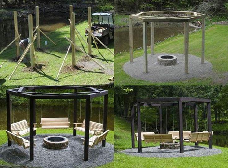 Fire Pit Backyard Diy : DIY Backyard Fire Pit with Swing Seats httpswwwfacebookcom