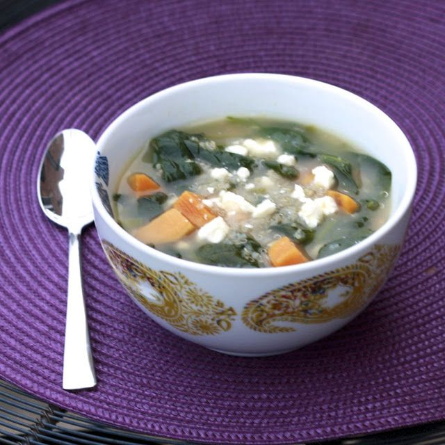 , flavorful soup! Quinoa chowder with sweet potatoes, spinach & feta ...