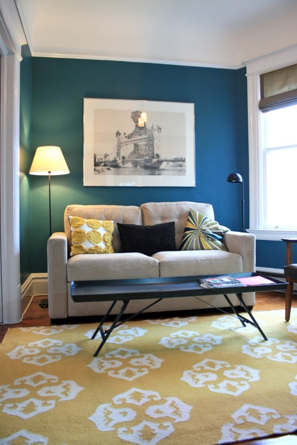 yellow and teal living room the image kid has it. Black Bedroom Furniture Sets. Home Design Ideas