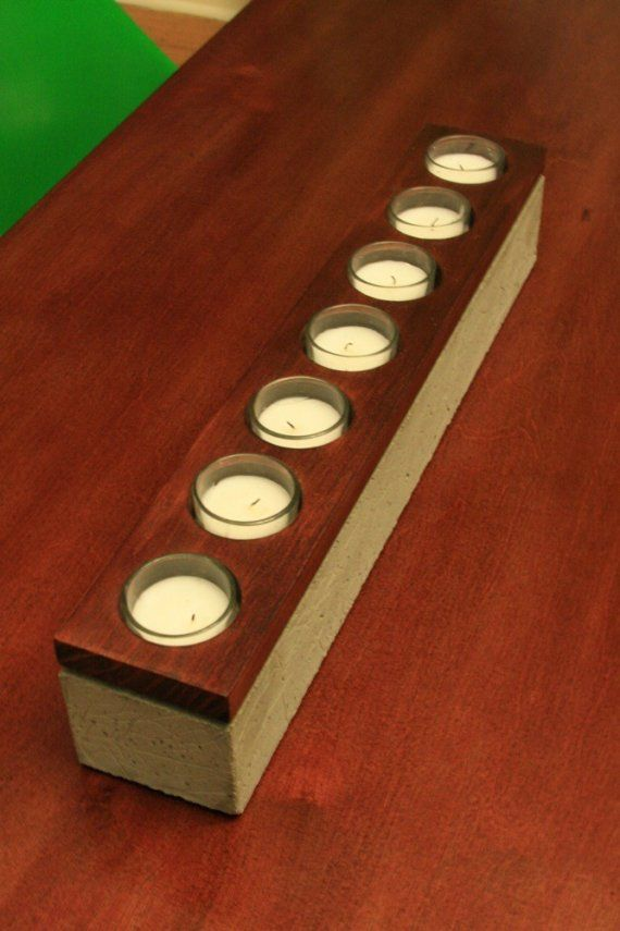 concrete & wood votive holder