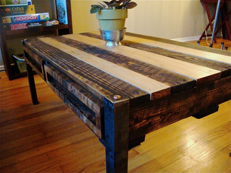 Homemade TV Tray Reclaimed Pallet Coffee Table With Storage Trays