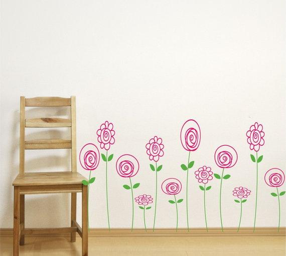 Children Wall Decals Doodle Wall Art Baby Girl Nursery Vinyl Wall