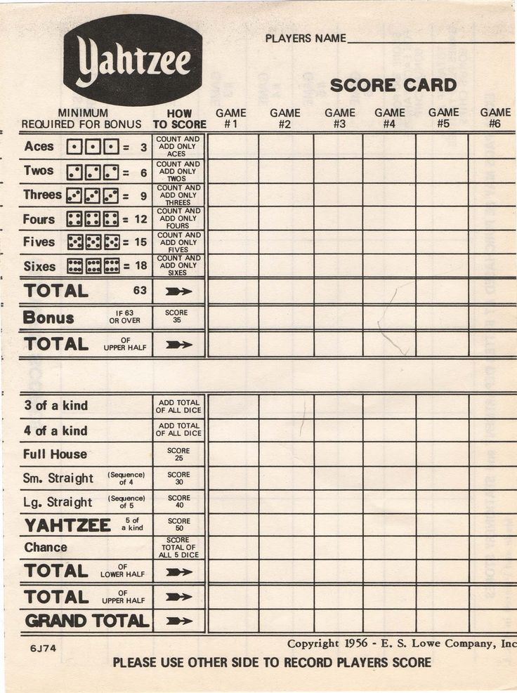 Fillable Yahtzee Score Sheet – Blank Calendars 2017