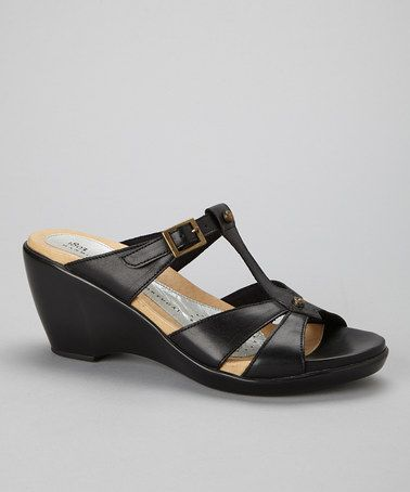 Black Genevieve Leather Sandal by 1803 Shoes #zulily #zulilyfinds