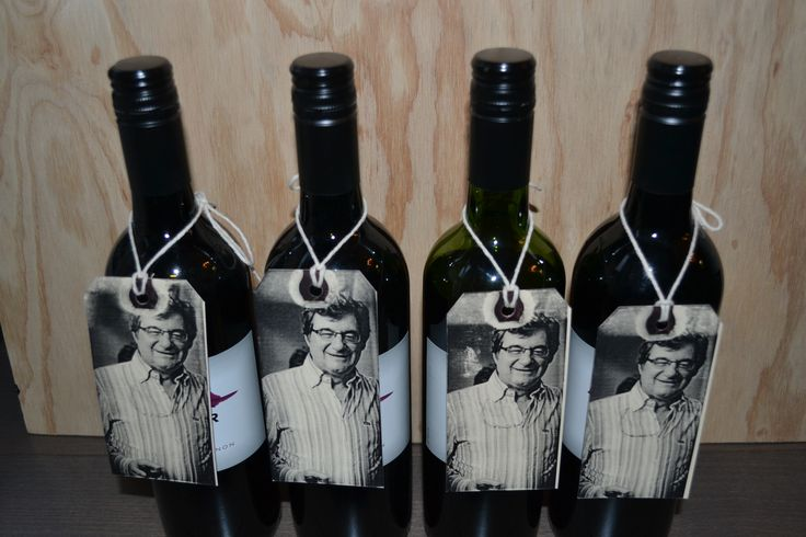 Wine bottle favors for 60th birthday party - DIY tags