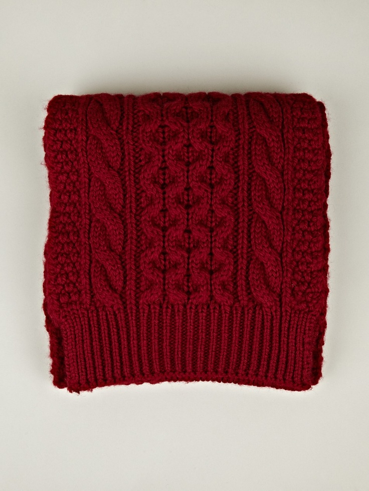 Maison Martin Margiela 14 Men's Chunky Knit Scarf in red at oki-ni