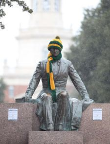 Christmas at #Baylor! // Even the statue of university namesake Judge R.E.B. Baylor likes some nice green-and-gold winter apparel.