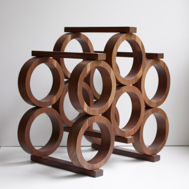 Vintage Modern Wood Wine Rack By Kustom Kraft