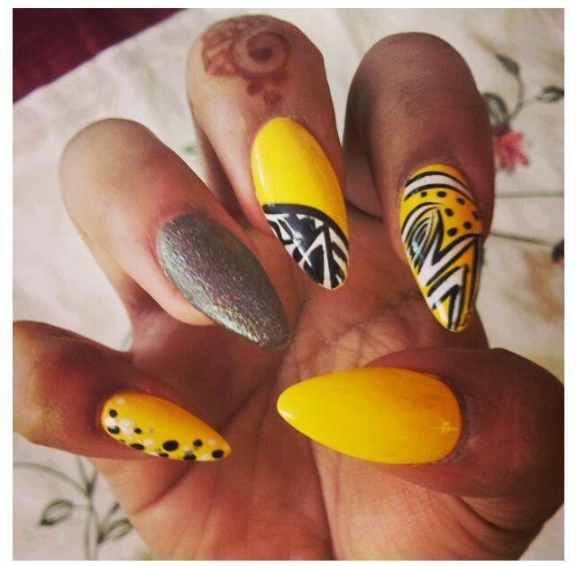 Yellow Stiletto Nail Designs Creative Nail Design