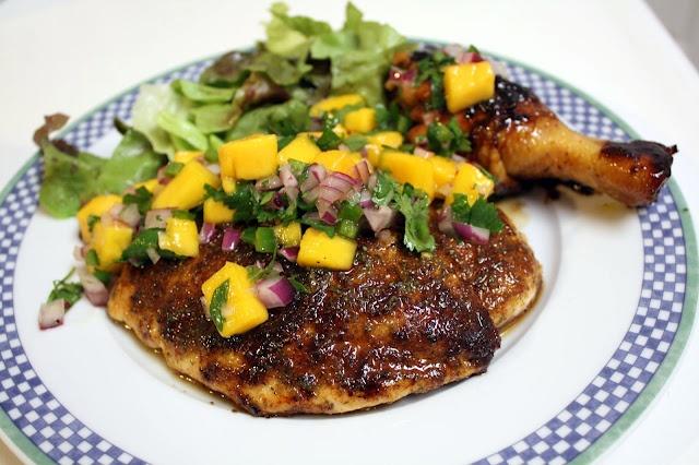 Grilled Jerk Chicken with Mango Cilantro Salsa   Recipe