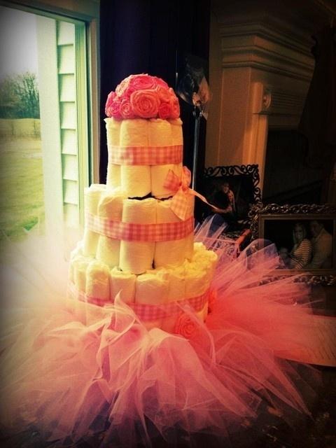 tutu diaper cake baby shower centerpiece pink girl princess 1st cake