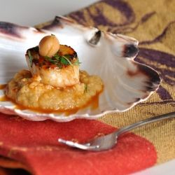 Seared sea scallops on a bed of spicy chick pea puree. The perfect ...