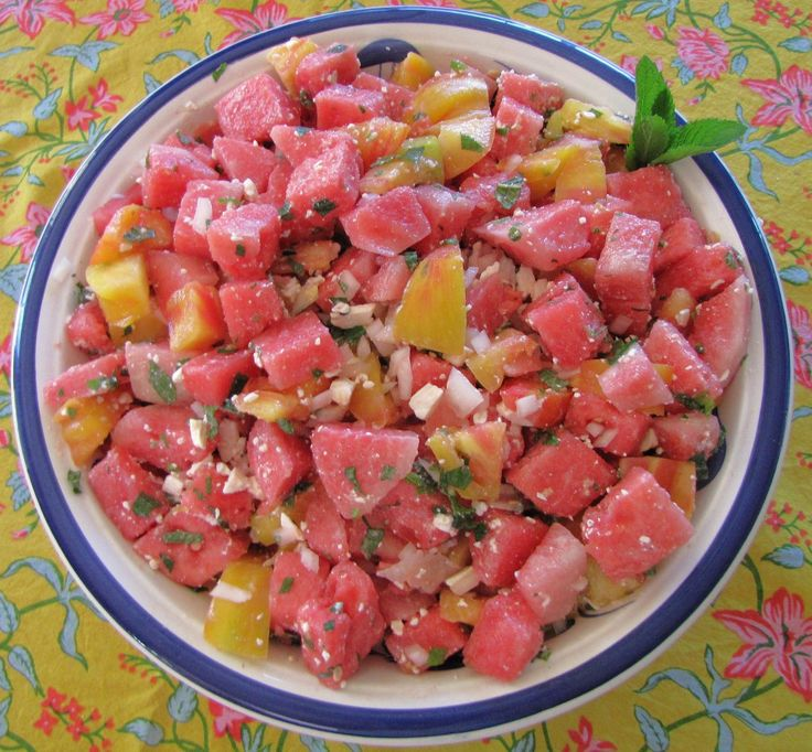 ... dish, watermelon and heirloom tomatoes with feta cheese salad, yummy
