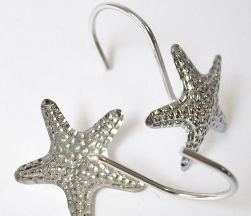 12 Pcs Modern Silver Starfish Decorative Metal Bling Shower Curtain Rings Hooks Home Donna 39 S