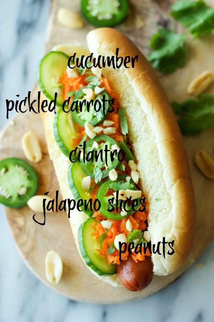 Banh Mi Hot Dogs - These hot dogs have a banh mi twist, loaded with ...