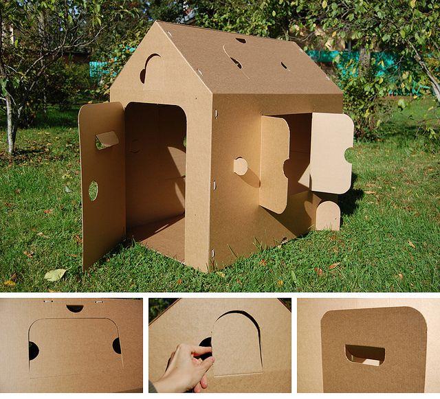 Как сделать картонный домик из коробки