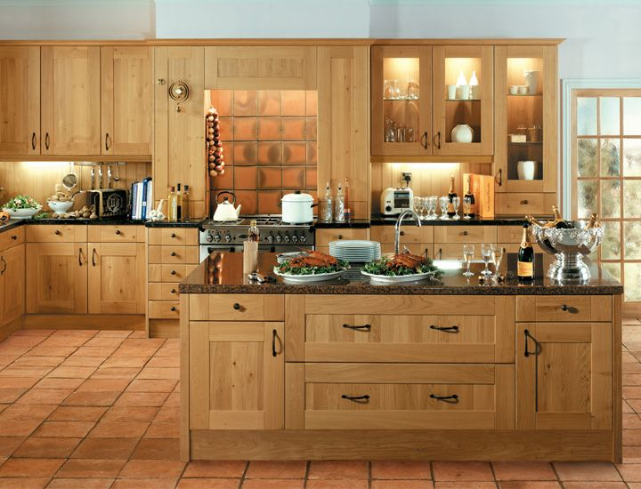 flooring with oak and black  B&Q solid oak kitchen images and floori ...