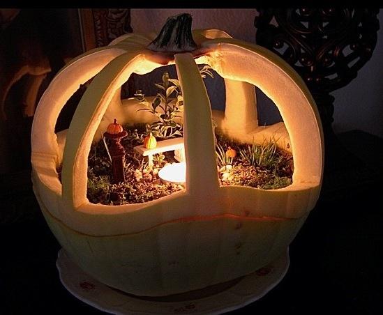 Pumpkin carved scene for Fairytale pumpkin carving ideas