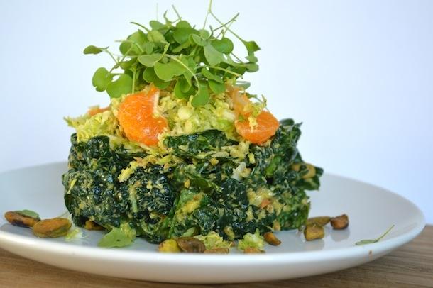 Salad. Kale & Brussels Sprout Salad w/ Lemon-Pistachio Vinaigrette ...