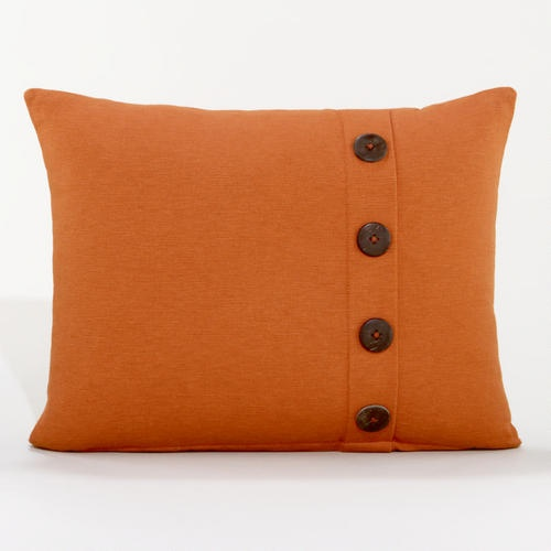 Throw Pillows With Buttons : Rust Ribbed Throw Pillow with Buttons New apt Decor Pinterest