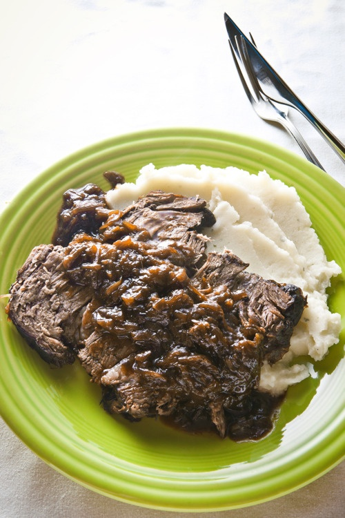 Beer-Braised Beef & Onions with Mashed Potatoes