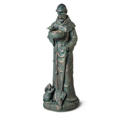 Because of his special rapport with nature, St. Francis of Assisi is a welcome figure in any garden. This beautiful garden sculpture depicts St. Francis with one hand holding his staff, the other cradling a bowl for his visiting bird friends.