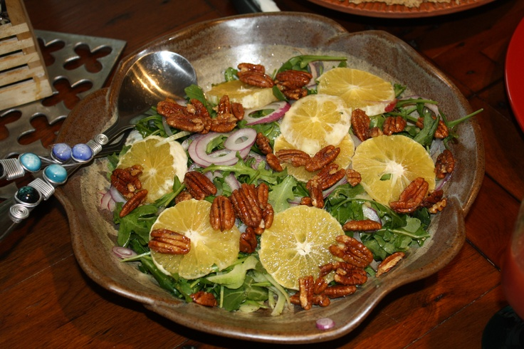 Fennel and arugula salad w/ candied pecans and orange slices