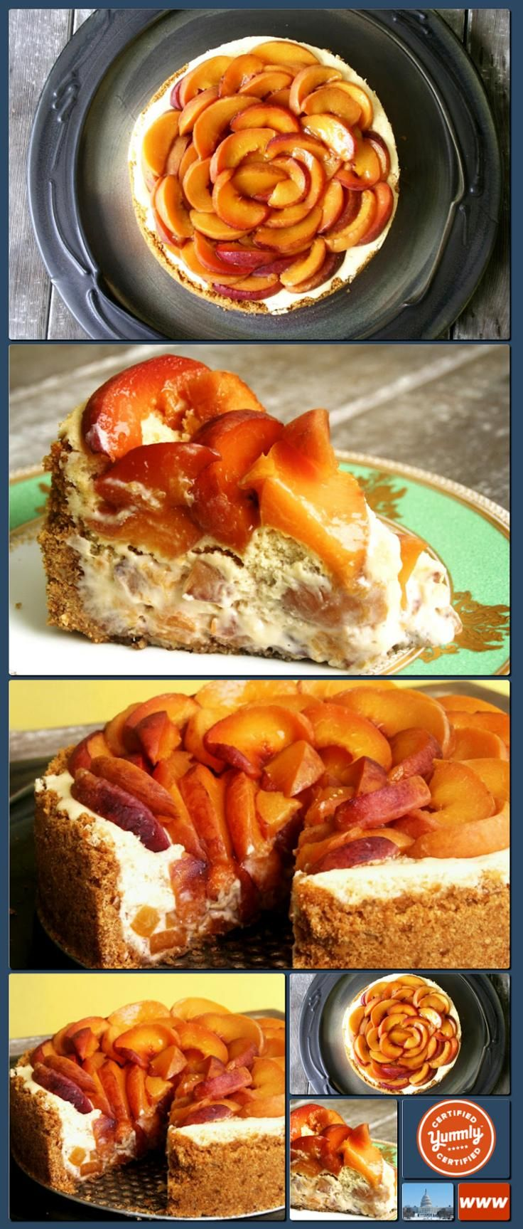 The Capitol Baker: Bourbon-Roasted Peach Cheesecake [Collage made with ...