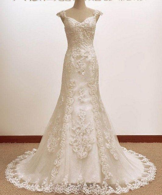 Vintage trumpet mermaid a line lace wedding dress bridal gown for Vintage mermaid wedding dress