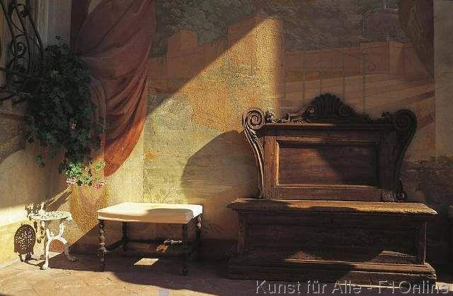 Sitzbank vor Wandmalerei, Barockes Fresko auf der Terrasse der Villa Torrigiani, Camigliano