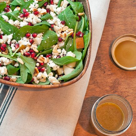 arugula salad with pine nuts, pomegranate seed, pear, feta cheese and ...