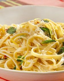 Fettuccine with Lemon, Mint, and Parmesan - Martha Stewart Recipes ...