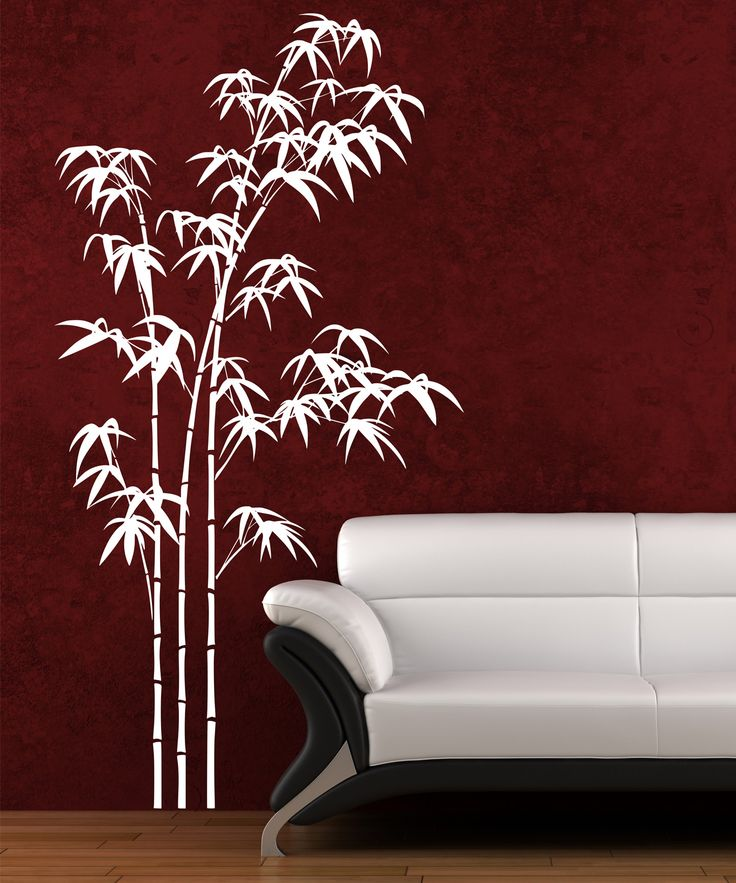 Bamboo forest wall art white for Bamboo wall art