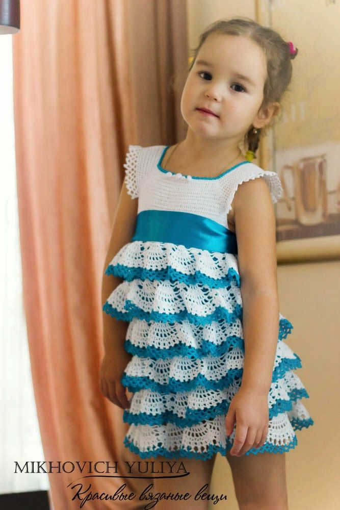 Вязание крючком на девочек платья нарядные