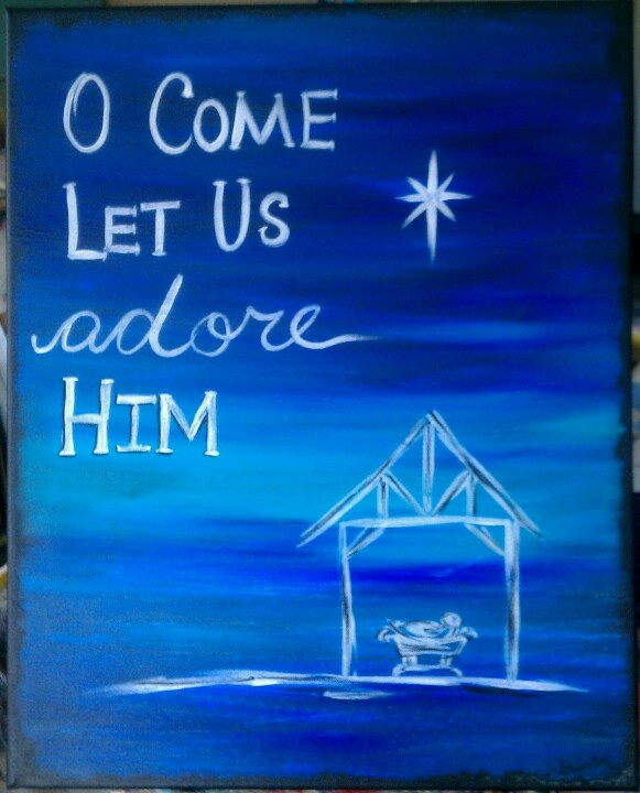 Quick and easy christmas painting nativities pinterest for Easy christmas paintings on canvas
