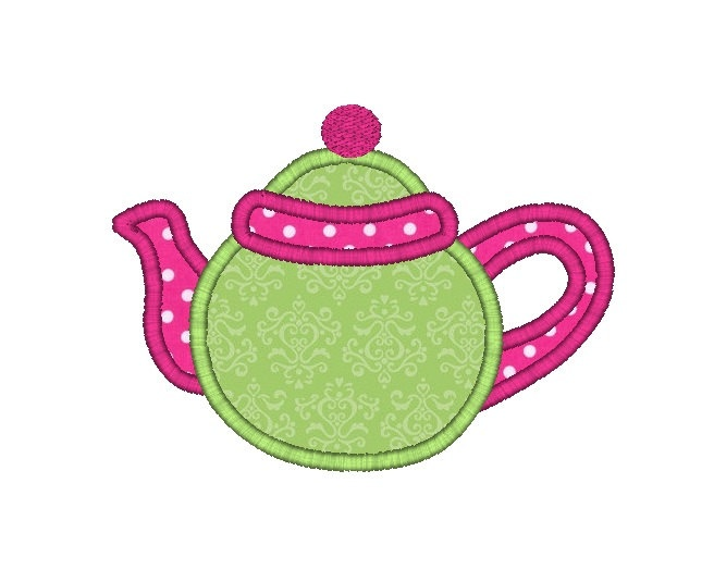 Teapot Applique Machine Embroidery DesignINSTANT DOWNLOAD