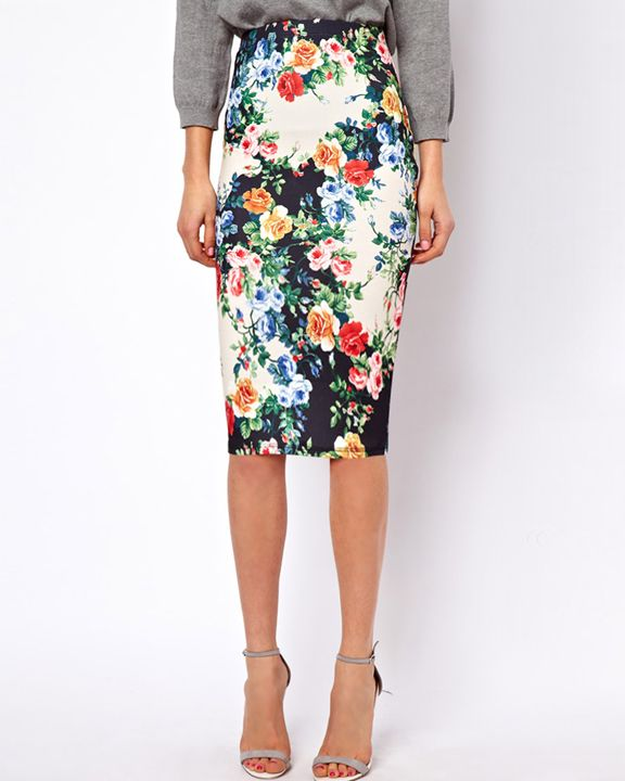 pencil skirt in floral print beautiful clothes