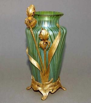 Loetz Art Nouveau Iridescent Green Swirl Glass Vase With Iris And Leaf Dore Sterling Silver Mounts