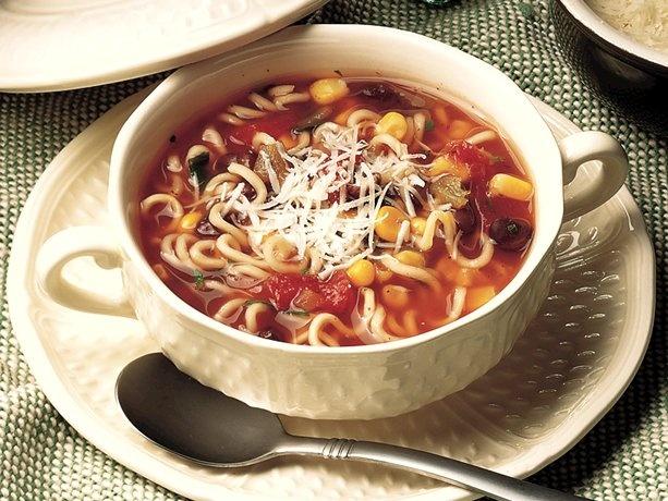 Black Bean and Salsa Noodle Soup - broth, black beans, salsa, corn ...