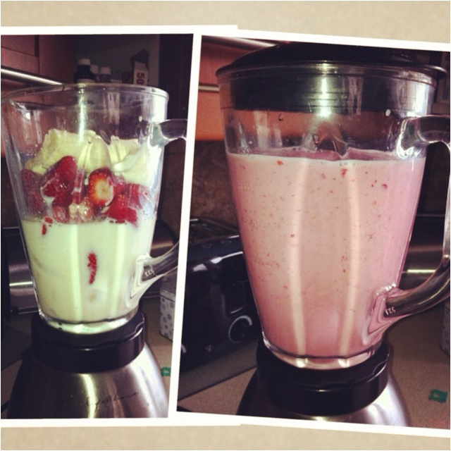 ... smoothie. Ice, strawberries, banana, half pkg. almond dessert tofu and