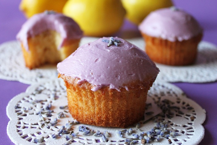 Lemon, Ginger and Honey Cupcakes with Lavender Buttercream Frosting
