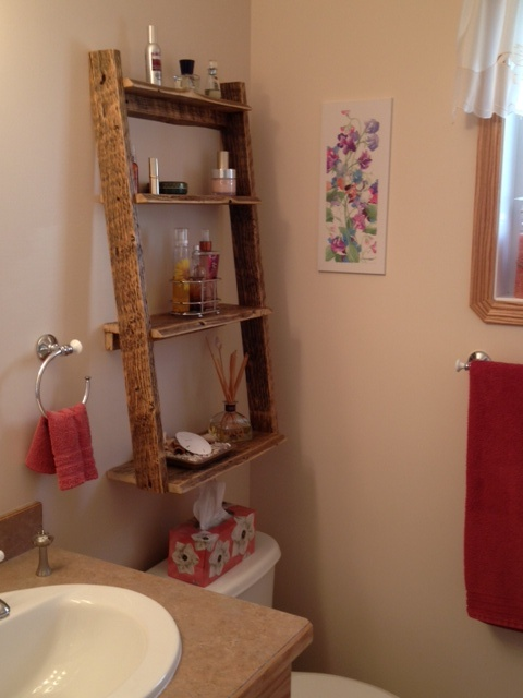 Bathroom ladder shelf reclaimed wood pieces pinterest for Bathroom ladder shelf