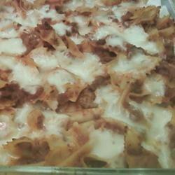 Bats and Cobwebs Recipe. Bowtie pasta, hamburger, jar pasta sauce ...