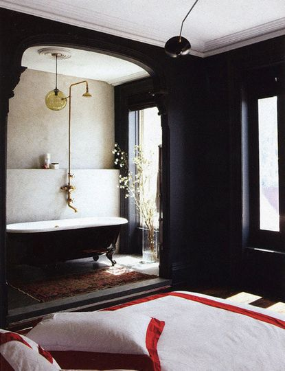 Paint color portfolio black bathrooms for Black painted bedroom