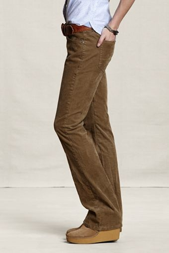 Awesome  Womens Bootcut Corduroy Trouser Jeans Low Waist Slim Pants UK SZ 414