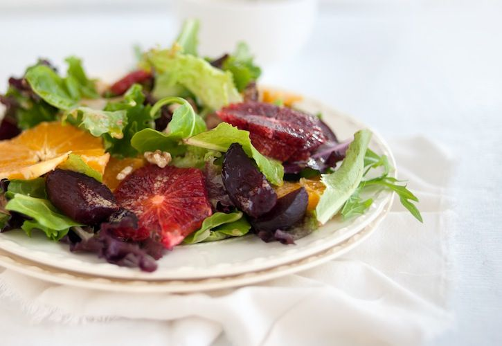 Roasted Beat, Blood Orange, and Mixed Green Salad on eatboutique.com
