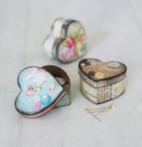 Cover papier-mâché boxes with pretty paper and use to store pins, buttons etc