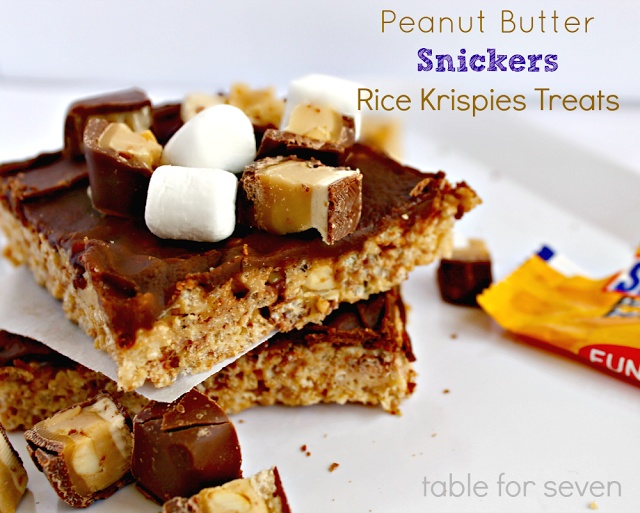 Table for 7 peanut butter snickers rice krispies treats