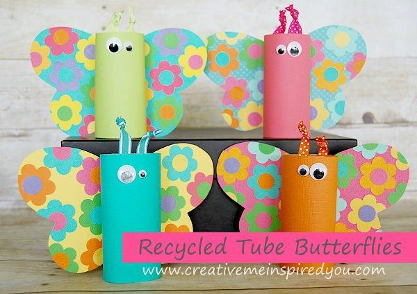 Toilet paper tube butterflies for Recycling toilet paper tubes