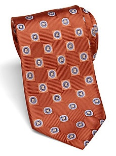 IV Front Extra Long Rust Geometric Washable Tie